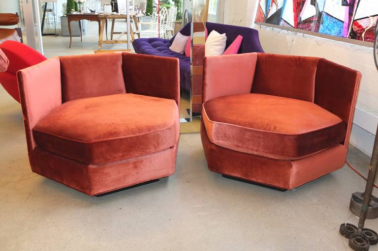 Mid-Century Modern Hexagonal Club Chairs in 'Dr. Pepper' Velvet from American Hustle