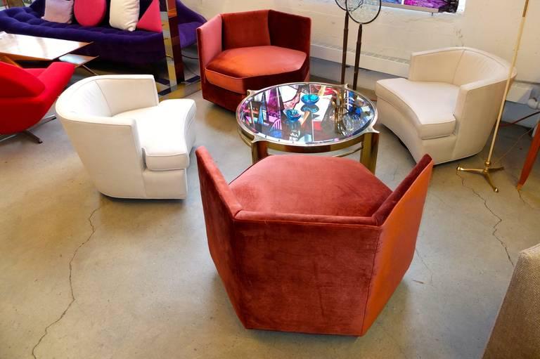 Hexagonal Club Chairs in 'Dr. Pepper' Velvet from American Hustle 3