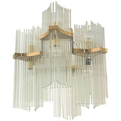 Gaetano Sciolari for Lightolier Glass Rod & Brass Chandelier