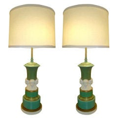 Pair of Neoclassical KPM and Parian Bisque Table Lamps