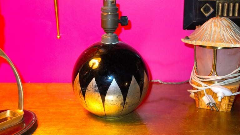 French Boudoir Lamp Cobalt Blue Glass For Sale 4