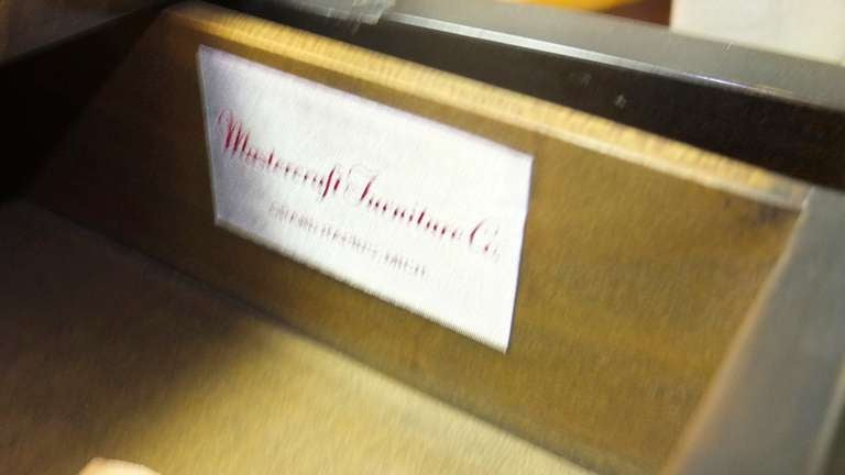 Mastercraft Credenza in Brass Decorated Carpathian Elm For Sale 4
