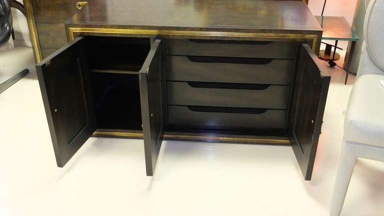 Mastercraft Credenza in Brass Decorated Carpathian Elm For Sale 2