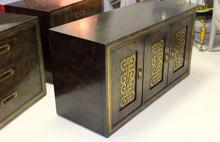 Late 20th Century Mastercraft Credenza in Brass Decorated Carpathian Elm For Sale