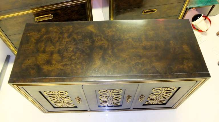 Mastercraft Credenza in Brass Decorated Carpathian Elm For Sale 3