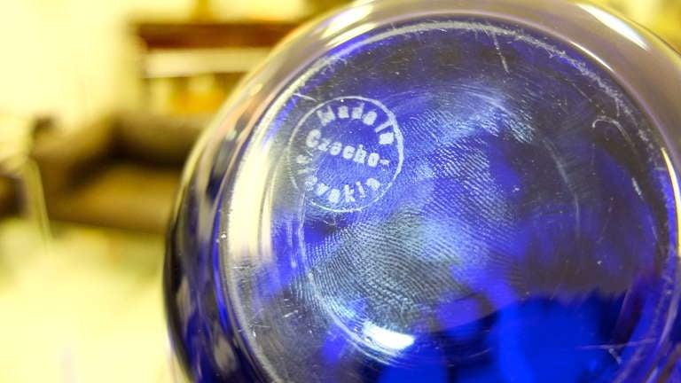 French Boudoir Lamp Cobalt Blue Glass For Sale 1