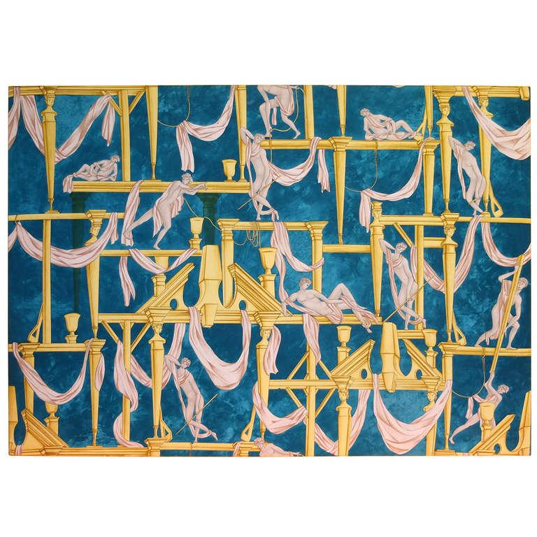 """Gio Ponti's """"La Casa Degli Efebi"""" Fabric Panel by Avigdor 1"""