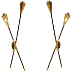 Pair of French X Sconces by Arlus