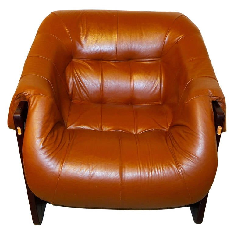 Lounge Chair by Percival Lafer in Jatobah and Leather
