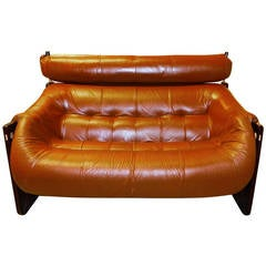 Percival Lafer Leather and jatobah Sofa or Loveseat