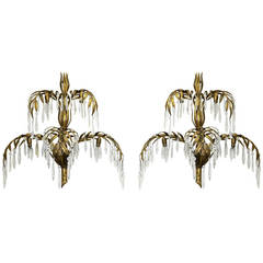Pair of 1950s Italian Palma d'Oro Wall Sconces