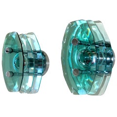 Pair of Italian Stacked Glass Sconces by Cristal Arte