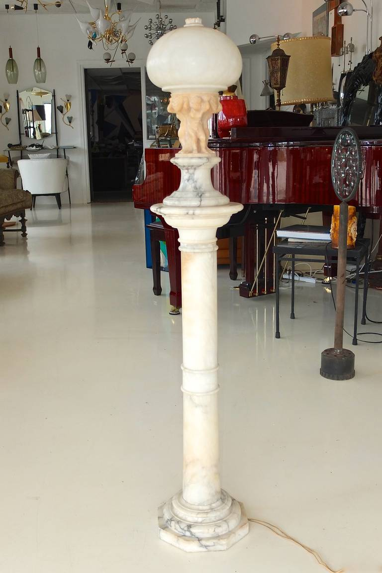 Art Deco Early 20th Century Italian Figural Carved Alabaster Lamp on Column For Sale
