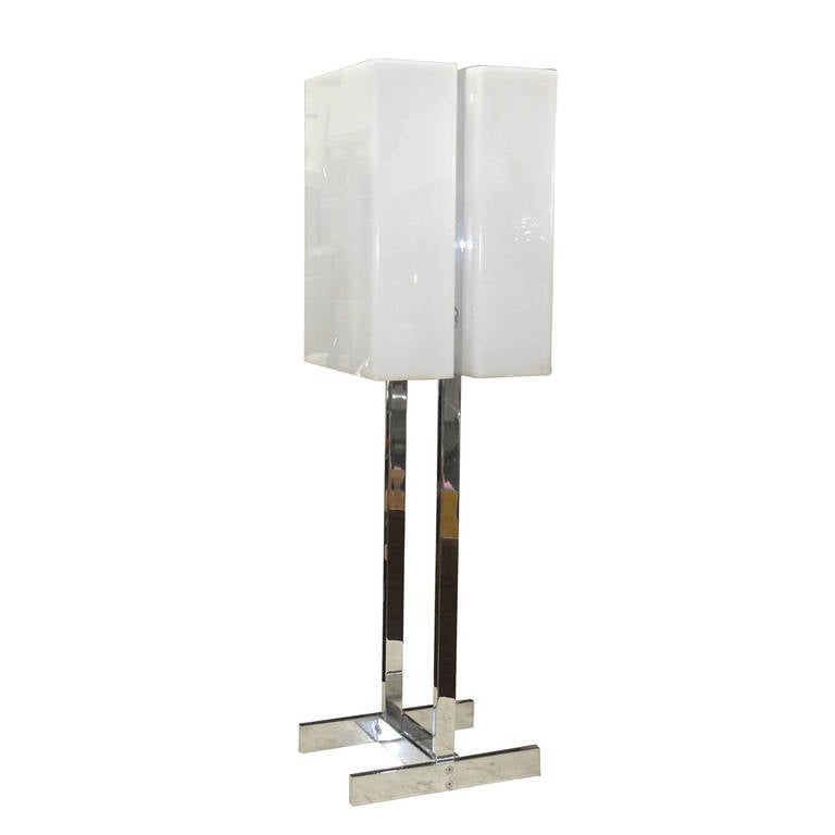Chrome & White Plexi Box Shade Lamp in the Style of Paul Mayen