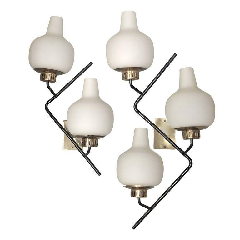 Stilnovo Brass & Opaline Glass ZigZag Wall Lamps