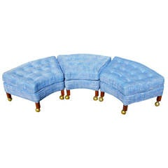 Group of Three Trapezoidal Ottoman on Casters
