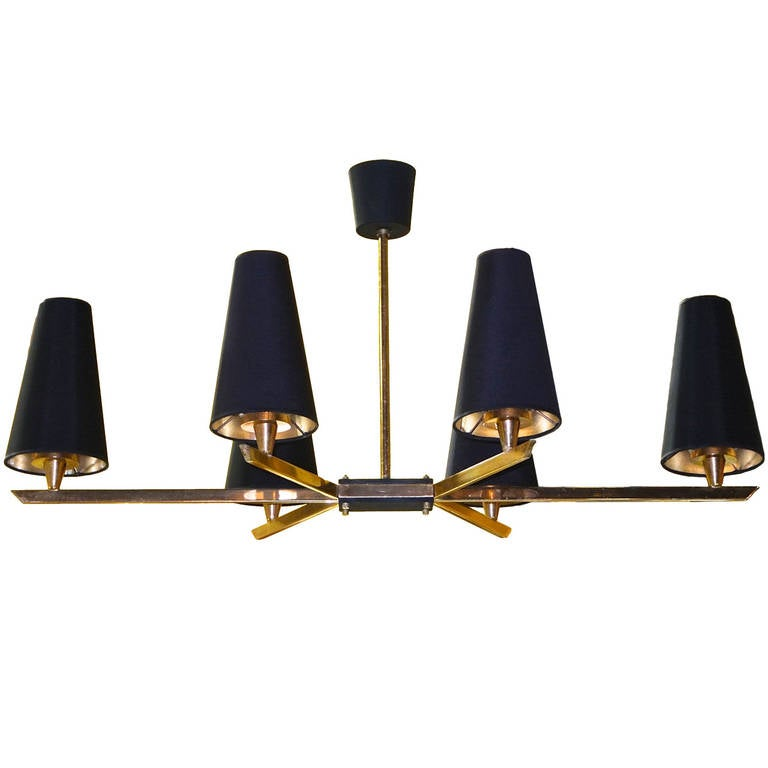French 1950's Linear Six Light Brass Chandelier
