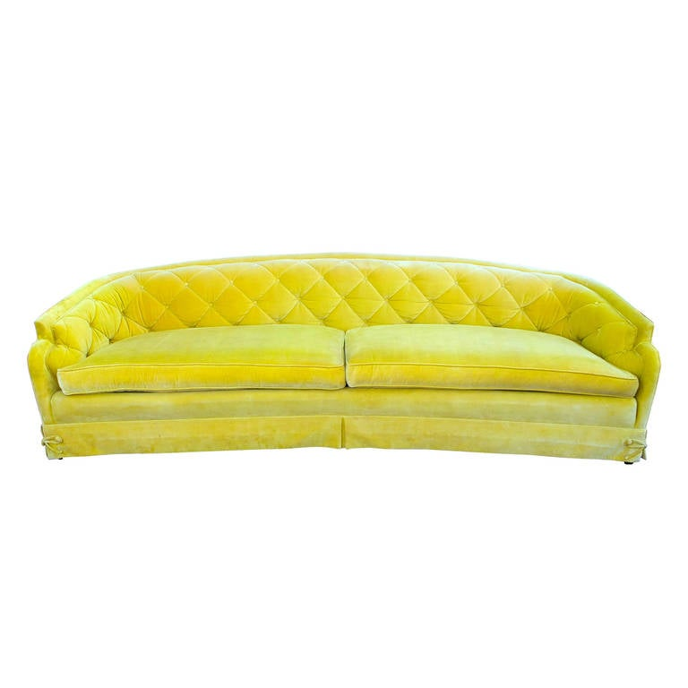 Hollywood Regency Velvet Sofa At 1stdibs