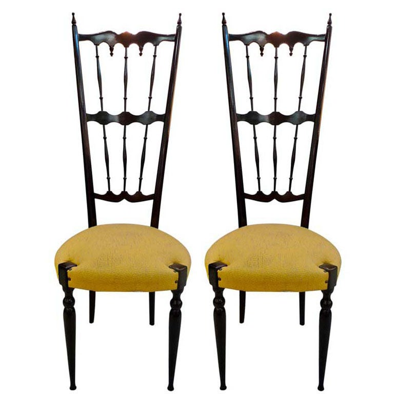Pair of Italian High Back Lacquer Chiavari Chairs