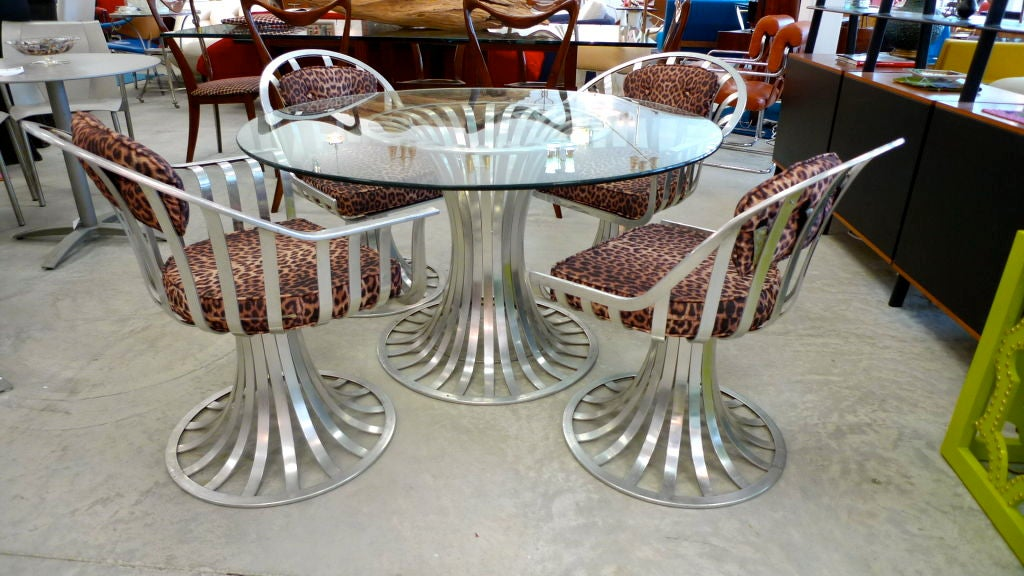 Russell Woodard Aluminum Breakfast Dining Table And 4 Chairs At