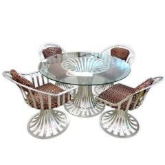Russell Woodard Aluminum Breakfast / Dining Table & 4 Chairs