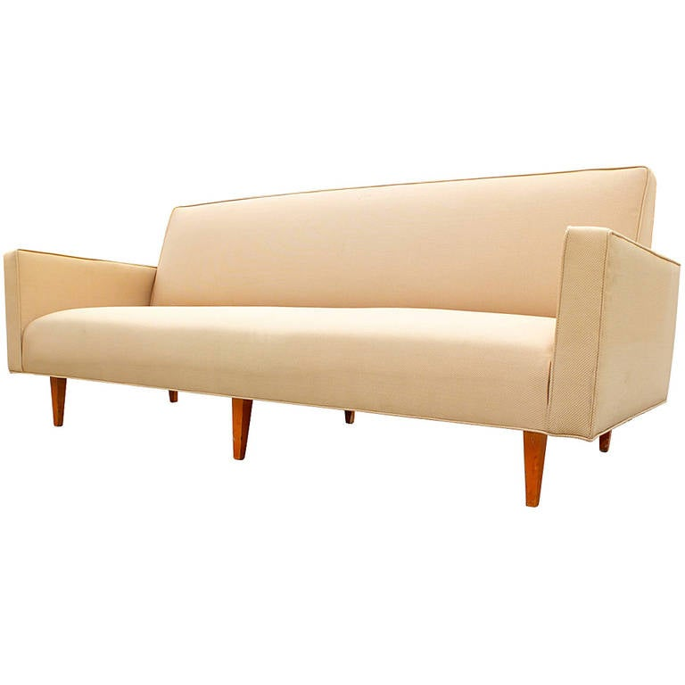 Mid century modern tight back bench seat sofa for sale at