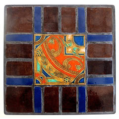 Square Iron and Glazed Stoneware Tile Occasional Table