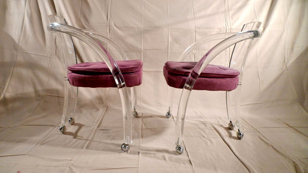 Pair Of Vintage Lucite Chairs On Casters At 1stdibs