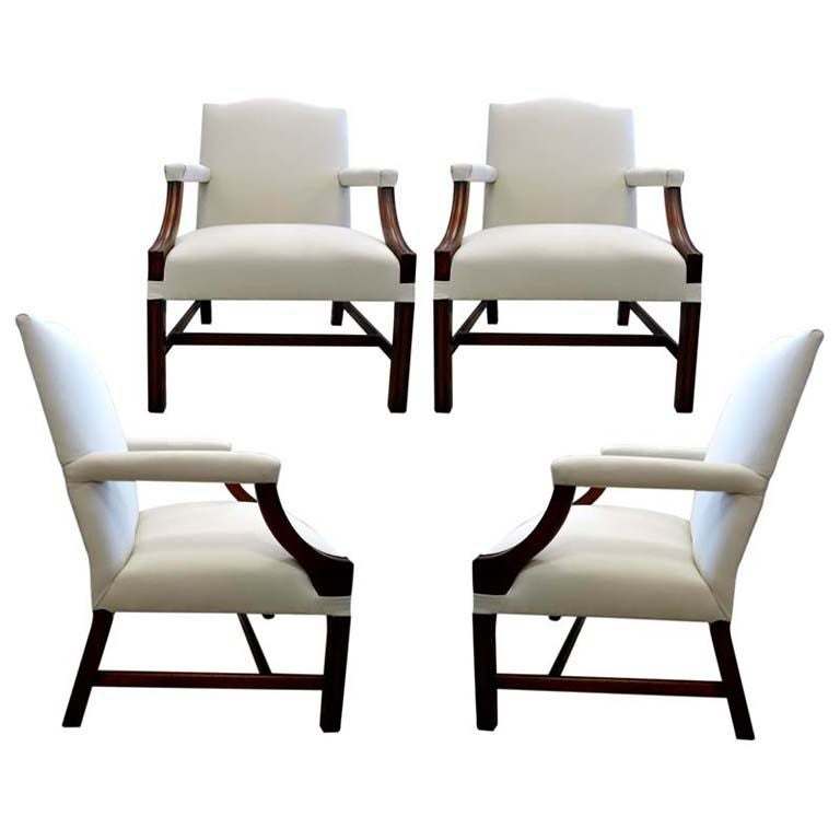 Set of 4 19th century english 39 gainsborough 39 library chairs at 1stdibs - Library lounge chairs ...