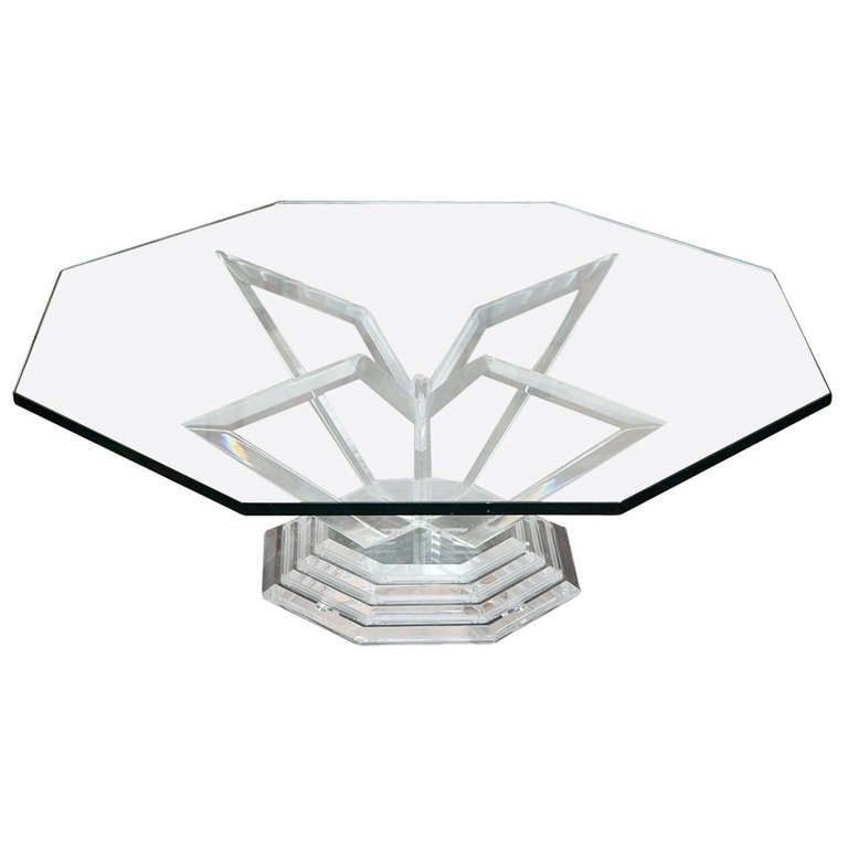 Grosfeld House Lucite Octagonal Cocktail Table