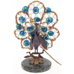 Bohemian Bronze and Beaded Glass Peacock Lamp