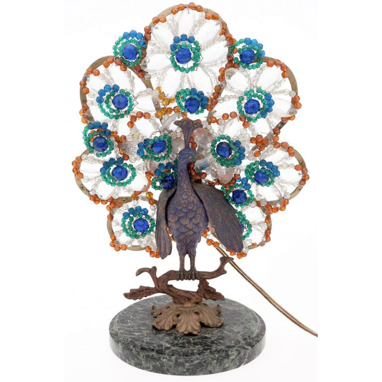 Bohemian Bronze And Beaded Glass Peacock Lamp For Sale