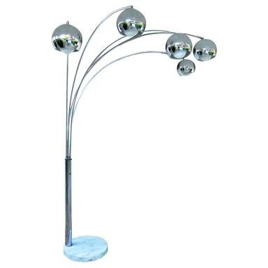 Italian 5 Arm Chrome Arc Floor Lamp At