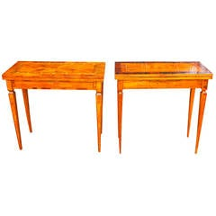 Near Pair of North Italian Fruitwood Marquetry Games Tables