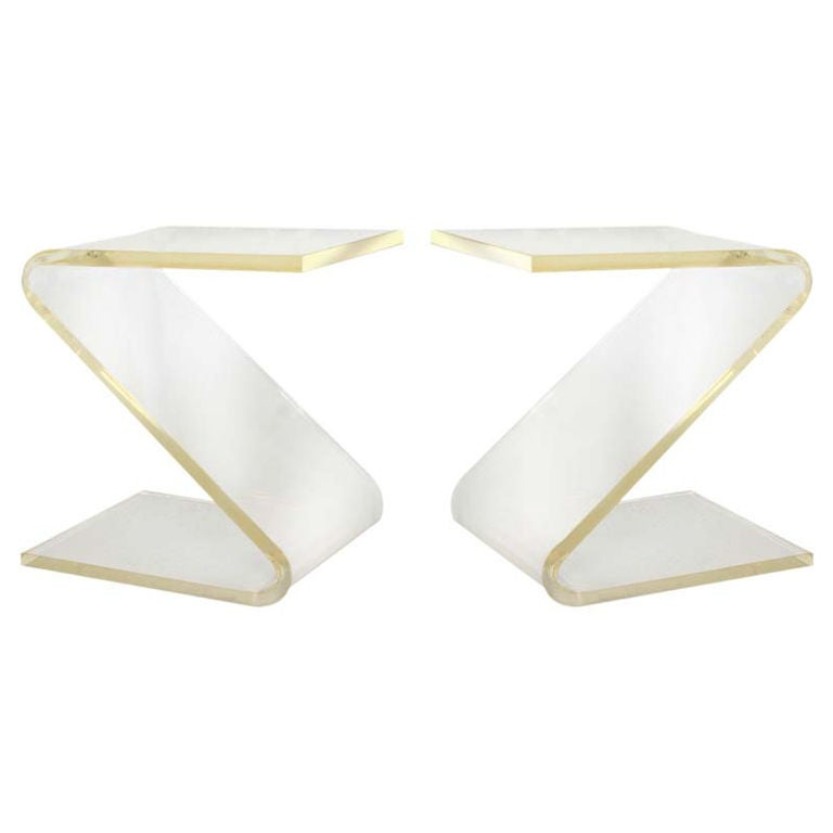 Pair Of Vintage Lucite Z Form Side Tables By John Mascheroni 1