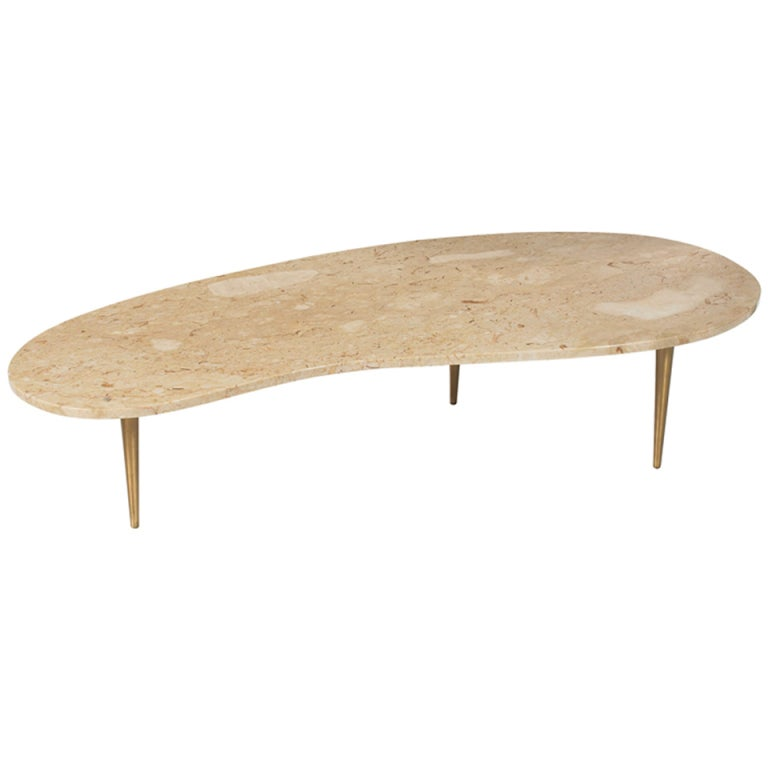 Rene Brancusi Biomorphic Cocktail Table with Tapered Brass Legs
