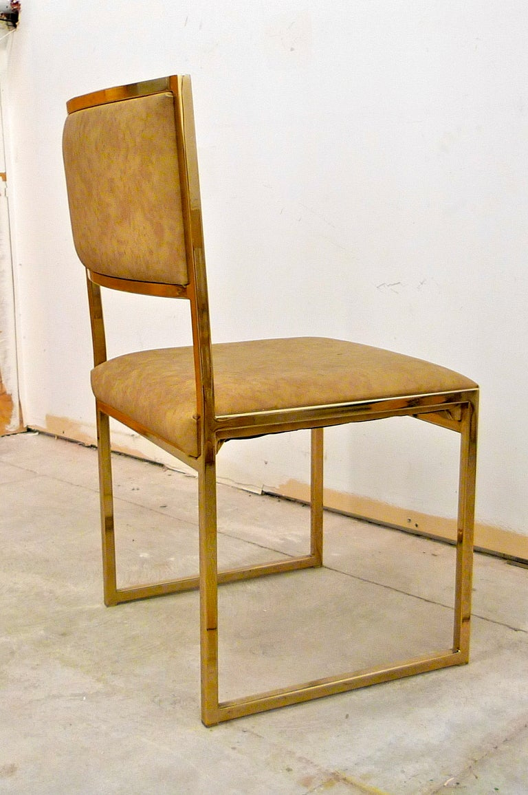 Set of Six Brass Frame Dining Chairs Attributed to Milo ...