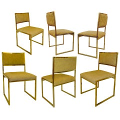 Set of Six Brass Frame Dining Chairs Attributed to Milo Baughman