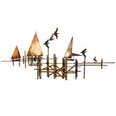 Sailboats & Dock Wall Sculpture by Curtis Jere