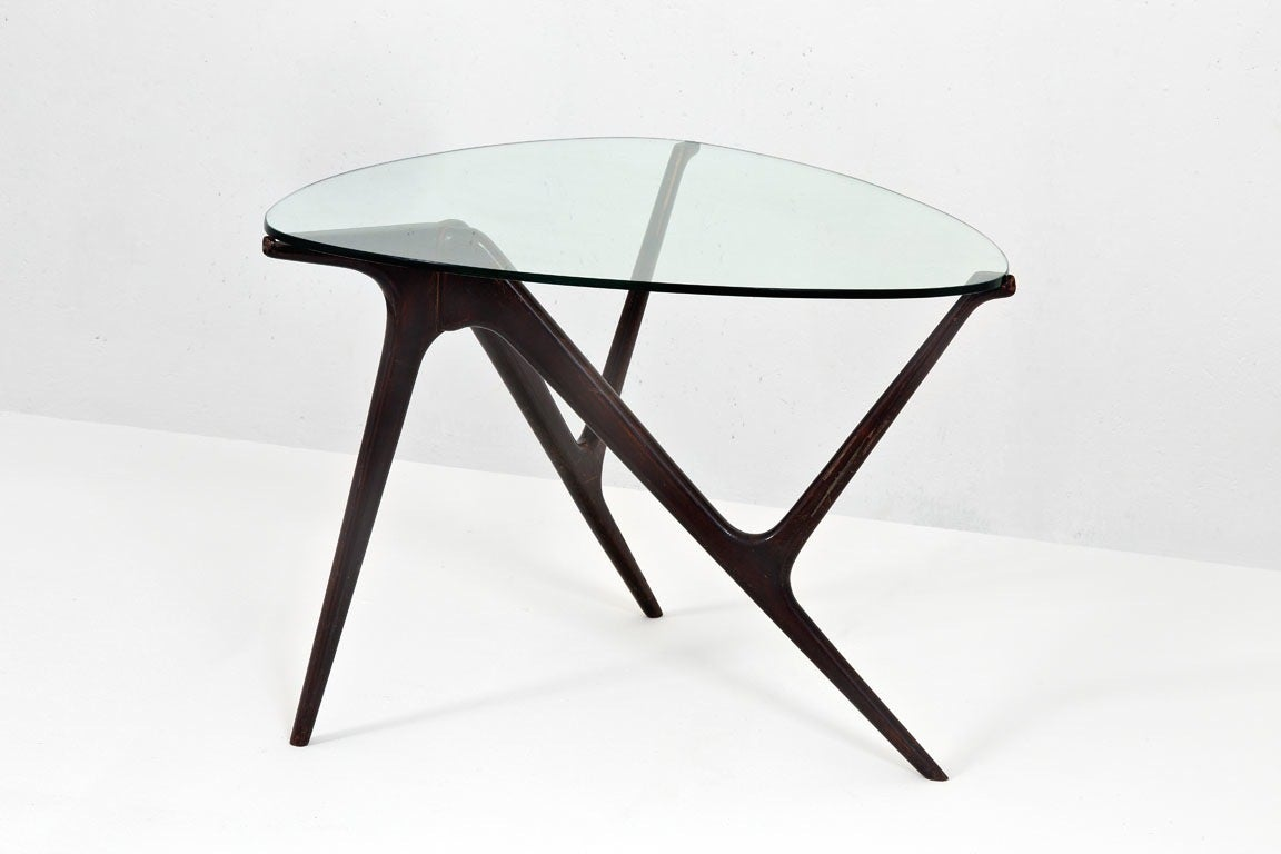 Stained 1950s Italian Occasional Table in the Style of Carlo Mollino For Sale