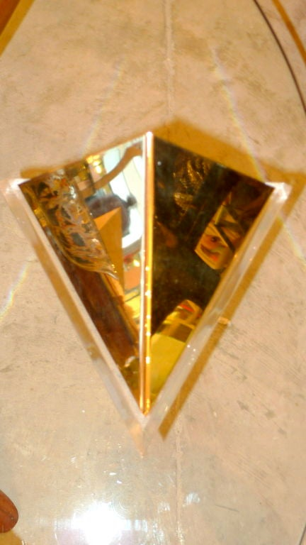 Italian Pair of Lucite & Brass Pyramidal Wall Sconces For Sale