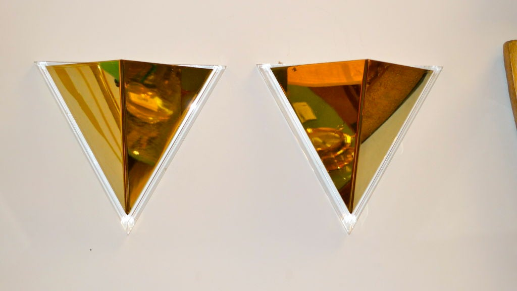 Pair of Lucite & Brass Pyramidal Wall Sconces For Sale 4