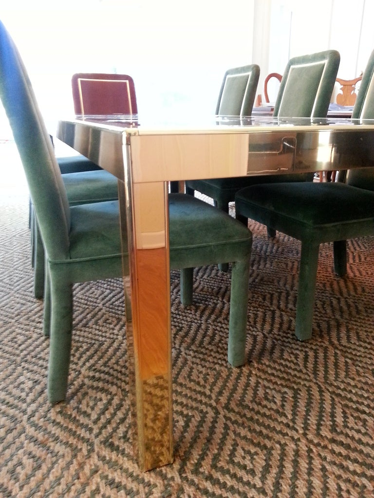 Late 20th Century Mastercraft Brass Dining Table with Bronze Mirror Panel Top For Sale