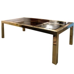 Mastercraft Brass Dining Table with Bronze Mirror Panel Top