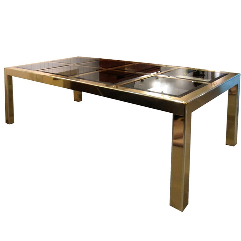 Mastercraft Brass Dining Table with Bronze Mirror Panel Top For Sale