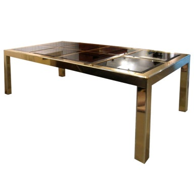 Brass dining table with 8 panel bronze mirror top at 1stdibs