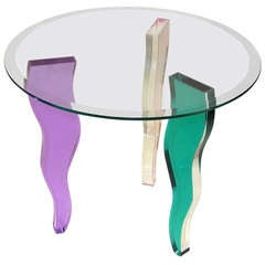 Colored Lucite Three Leg Occasional Table