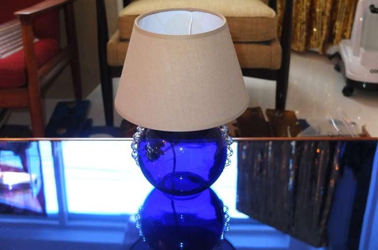 French Boudoir Lamp Cobalt Blue Glass For Sale 5