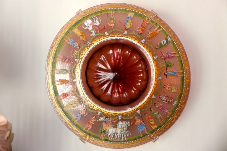 Salviati & C. Venetian Polychrome Enameled and Gilded Glass Centerpiece For Sale 12