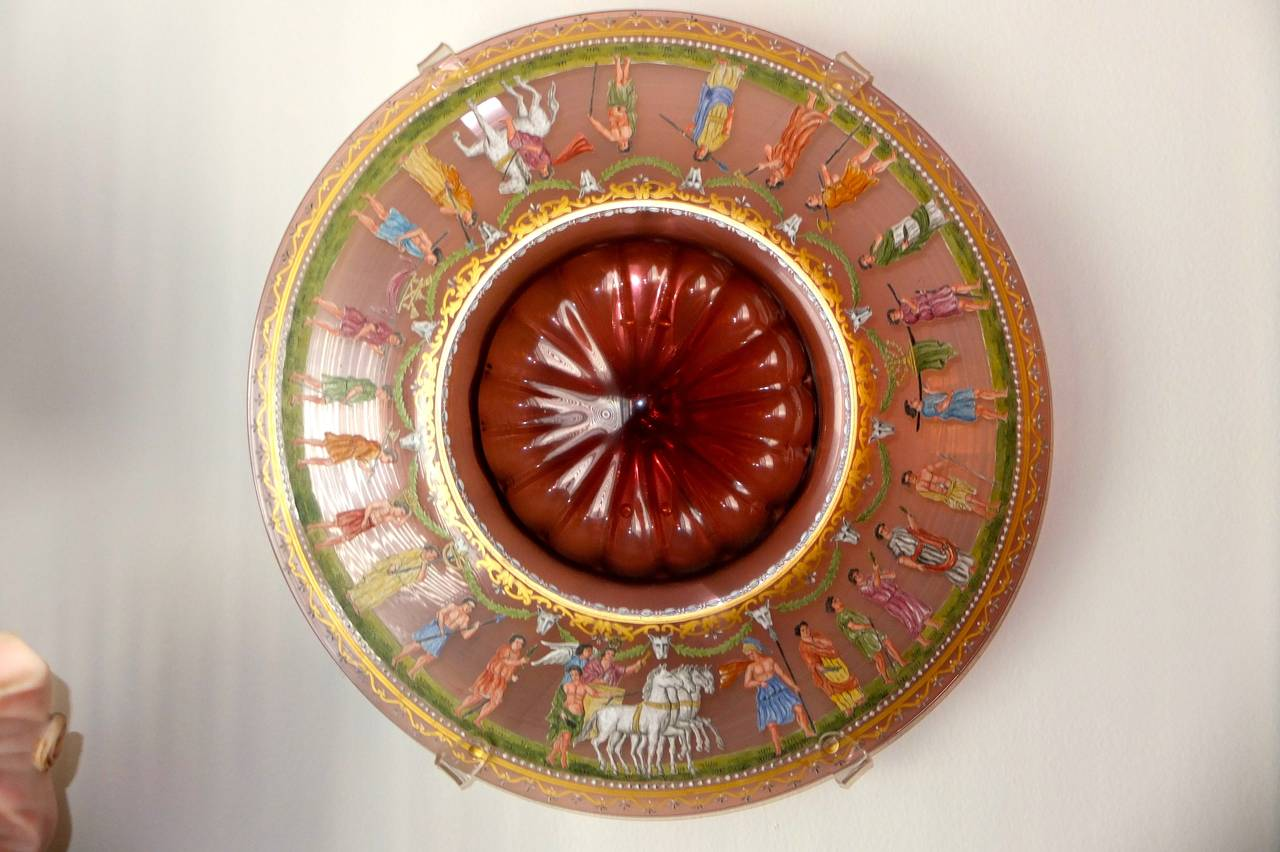 Venetian polychrome enameled and gilded glass centerpiece by Salviati & C. of Murano enameled by Francesco Toso Borella after an antique belonging to the Principe di Torlonia. Hand blown thin glass with pontil, parcel gilt, with finely hand-painted